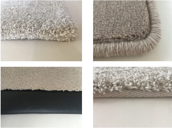 Four of the rug edgings we offer at Firth Carpets: turned, whipped, leather and blind bound