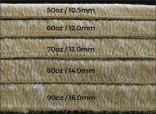 The pile weights available in Firth Carpets' Deluxe Velvet range